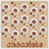 Chocolate candies and hot chocolate. The composition with the template. Design for candy boxes, textiles, napkins, wrapping paper, Royalty Free Stock Photo