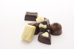 Chocolate candies isolated on white background. Close up. Royalty Free Stock Photography