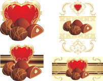 Chocolate candies with nuts to the Valentines day. Illustration Royalty Free Stock Images