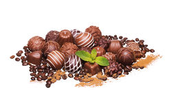 Chocolate candies. Pale of Belgian truffles isolated Royalty Free Stock Images