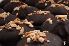 Chocolate candies & peanuts. Milk chocolate candies covered with roasted peanuts. Shallow DOF Stock Photography