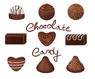 Chocolate candies set Royalty Free Stock Images