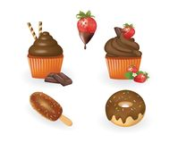 Chocolate candies set cupcakes, donuts and ice cream. Vector Royalty Free Stock Image