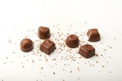 6 chocolate candies from a set royalty free stock photography