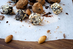 Chocolate candies  truffle with almonds Stock Photography