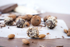 Chocolate candies  truffle and almonds Royalty Free Stock Photography