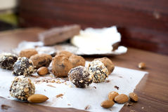 Chocolate candies  truffle and almonds Stock Image