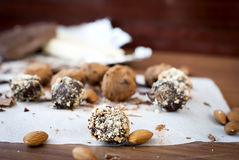 Chocolate candies  truffle and almonds Royalty Free Stock Photo