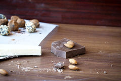 Chocolate candies  truffle, milk chocolate and almonds Stock Photo