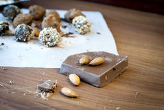 Chocolate candies  truffle, milk chocolate and almonds Stock Image
