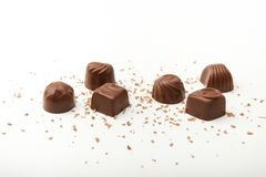 Chocolate candies on a white background royalty free stock image