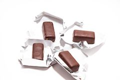 Chocolate candies on white background close up stock image
