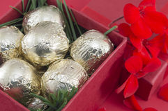 Chocolate candies wrapped  in golden coloured packaging. Chocolate candies wrapped  in golden coloured package Stock Photography
