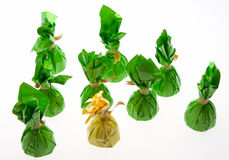 Chocolate candies wrapped in green and yellow Royalty Free Stock Photography