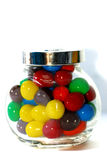Chocolate Candy 5. Close up Color Chocolate Candy in Transparent container Stock Images