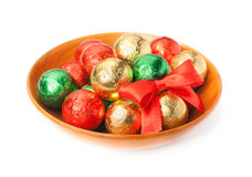 Chocolate candy balls in a plate Royalty Free Stock Photo
