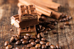 Chocolate candy bar cofee beans cinnamon Stock Image