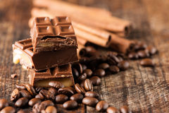 Chocolate candy bar cofee beans cinnamon horizontal Stock Photos