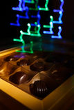 Chocolate candy. On a black background. macro shooting Stock Photo