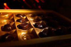 Chocolate candy. On a black background. macro shooting Stock Images