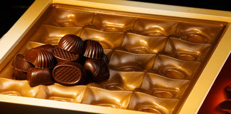 Chocolate candy. On a black background. macro shooting Royalty Free Stock Photography