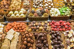 Chocolate and candy at the Boqueria Royalty Free Stock Photo