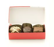 Chocolate candy in box. Closeup of chocolate candy in a box Stock Photos