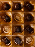 Chocolate candy. In a box. on a black background. macro shooting. flash. new Year. gift Royalty Free Stock Photos