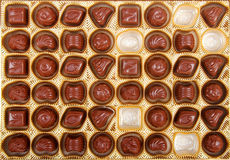 Chocolate candy in the box. Variation of chocolate candy in the box Royalty Free Stock Photos