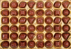 Chocolate candy in the box. Variation of chocolate candy in the box Royalty Free Stock Photo