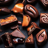 Chocolate Candy, Cocoa. Assortment of fine chocolates close up. royalty free stock photo