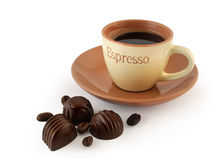 Chocolate candy and coffee Stock Photos