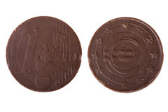 Chocolate candy coin macro Royalty Free Stock Images