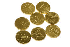 Chocolate candy coins Stock Photos