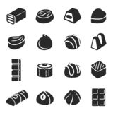 Chocolate candy confectionery assortment black icon set royalty free illustration