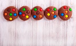 Chocolate candy cookies stock photo
