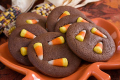 Chocolate Candy Corn Cookies Royalty Free Stock Photo