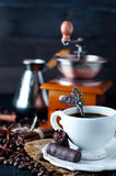 Chocolate candy with cup of coffee Royalty Free Stock Images