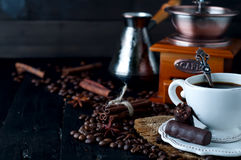 Chocolate candy with cup of coffee Stock Photo