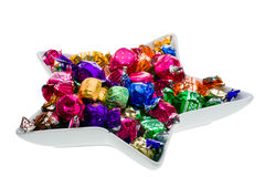 Chocolate Candy In A Dish. Chocolate candy in star shaped dish Royalty Free Stock Photography