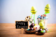 Chocolate and candy Easter eggs Royalty Free Stock Photography