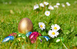 Chocolate candy Easter eggs wrapped in foil Royalty Free Stock Photos