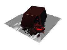 Chocolate candy on foil. Vector illustration of chocolate yummy candy on foil with flowing out filling Stock Images