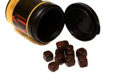 Chocolate candy in the form of cubes Stock Image