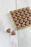 Chocolate candy in the form of hearts Stock Photo