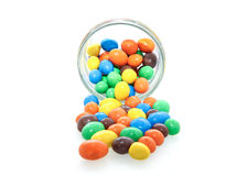 Chocolate candy in a glass jar Stock Images