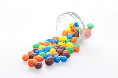 Chocolate candy in a glass jar Royalty Free Stock Images