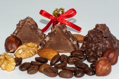 Chocolate candy with hazelnuts Stock Photos