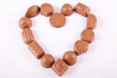 Chocolate Candy in Heart Shape Stock Photography