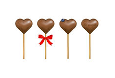 Chocolate candy hearts with a billberry. Vector  Royalty Free Stock Photo